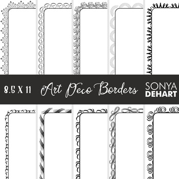 Clip Art: Borders - Elegant Art Deco Page and Cover Borders Black and White