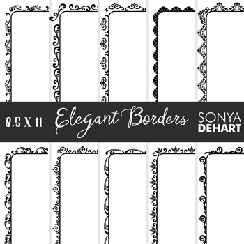 Clip Art: Borders - Elegant Page and Cover Borders Black and White
