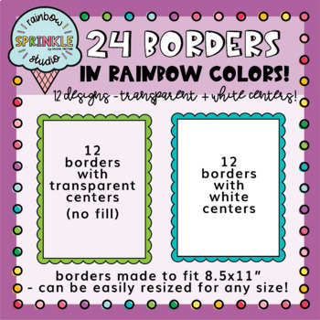 Rainbow Scalloped Borders and Frames FREEBIE  {borders clipart}