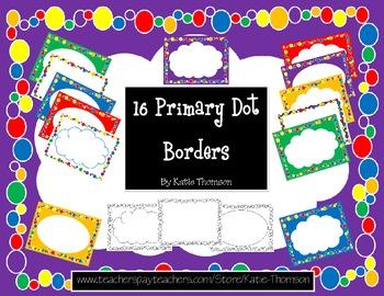 Borders / Frames 16 Primary Dot Borders
