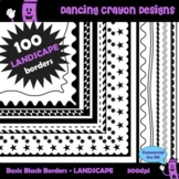 100 Landscape Borders and Frames - Clip Art BUNDLE
