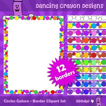 Borders and Frames with Circle Design - Clip Art