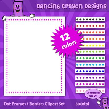 Borders and Frames: Dot Border / Frame Clip Art Set