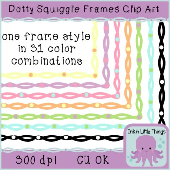 Borders / Frames - Pastel Dotty Squiggle Borders Clip Art