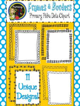 Borders & Frames {Primary Polka Dots Clip Art}