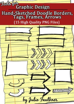 Borders, Frames, Tags, Arrows {Doodles, Sketchy, Hand-Drawn, Chalkboard Theme}