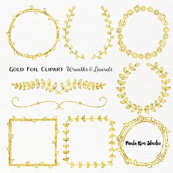 Borders - Gold Foil Wreaths