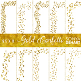 Clip Art: Borders - Gold Glitter Confetti Page and Cover Borders