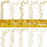 Clip Art: Borders - Gold Glitter Confetti Page and Cover Borders