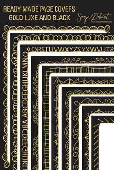 Clip Art: Borders - Gold Luxe Ready Made Page Covers FREEBIE