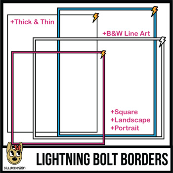Borders: Lightning Border Clip Art, Thick Colors & Thin, 3 Sizes
