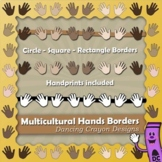 Borders: Multicultural Hands Borders and Frames / Hands Clip Art