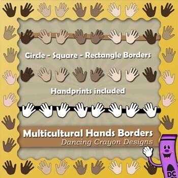 Borders: Multicultural Hands Borders and Frames / Hands Clip Art