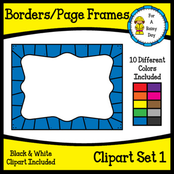 Borders/Page Frames Clipart Set 1 (sized 8.5 x 11)