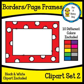 Borders/Page Frames Clipart Set 2 (sized 8.5 x 11)