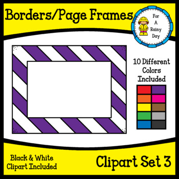 Borders/Page Frames Clipart Set 3 (sized 8.5 x 11)