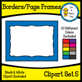 Borders/Page Frames Clipart Set 5 (sized 8.5 x 11)