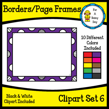 Borders/Page Frames Clipart Set 6 (sized 8.5 x 11)