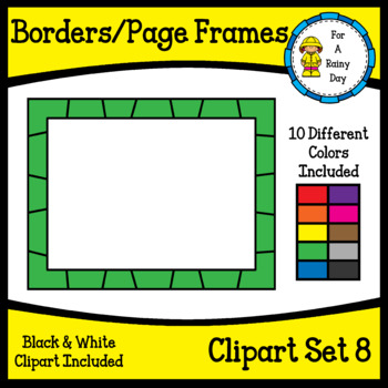Borders/Page Frames Clipart Set 8 (sized 8.5 x 11)