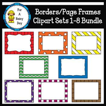 Borders/Page Frames Clipart Sets 1-8 Bundle
