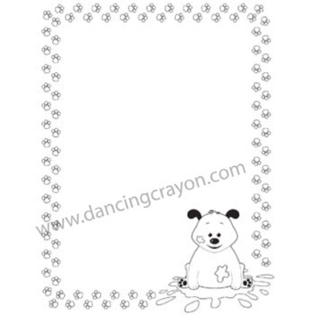 Kitten and Pup Paw Print Borders Clip Art