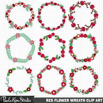 Borders - Red Flower Wreaths