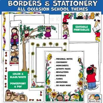 Borders SCHOOL BORDERS All Occasion (Karen's Kids Editable Printables)