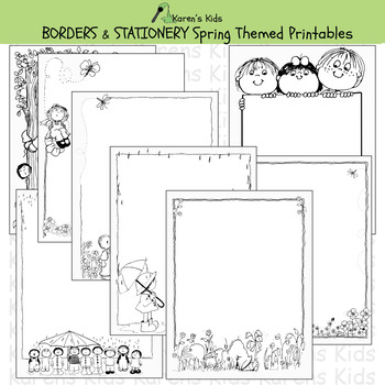 Borders SPRING BORDERS & STATIONERY (Karen's Kids Printables)