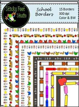 Borders - School Theme - Color & BW
