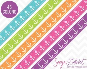 Borders - Set of 45 Nautical Anchor Ribbons Clipart