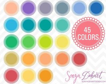 Borders - Set of 45 Scallop Circles Clipart