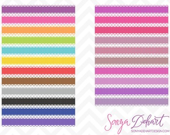 Borders - Set of 45 Scallop Loop Ribbons Clipart