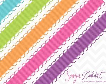 Borders - Set of 45 Scallop Loop Ribbons Clipart