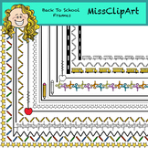 Borders and Frames: Back to school (Color and B&W){MissClipArt}