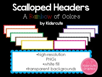Borders and Frames {Headers} Clip Art~Rainbow Scalloped