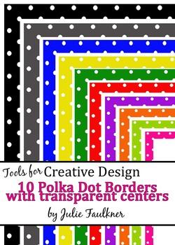 Borders and Frames Pack  {Polka Mini Dots Theme} Rainbow Colors