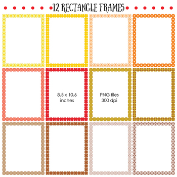 Borders and Frames - Set in Yellow, Orange, Red and Brown