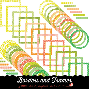 Borders and Frames - Set in Yellow, Orange, Red and Green