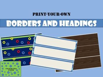 Bulletin Board Borders and Headings - Blues, Circles and Wood