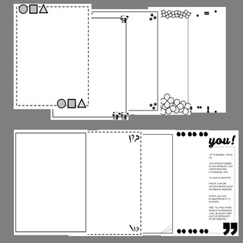 Borders for TPT Products - Black and White - Thin