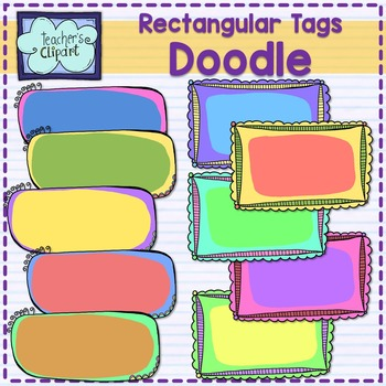 Rectangular tags {Doodle} Clip art