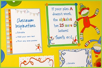 Borders or Frames – Editable – Coordinates with Sock Monkey Classroom Theme