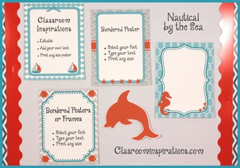 Borders or Frames – Editable – Nautical by the Sea Classroom Theme