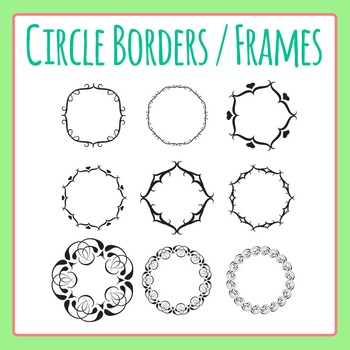 Borders or Frames in Circular Shape Clip Art Set for Commercial Use