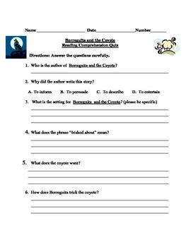 Borreguita and the Coyote Reading Comprehension Quiz