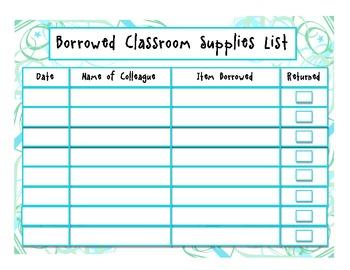 Borrowed Classroom Supplies Checklist