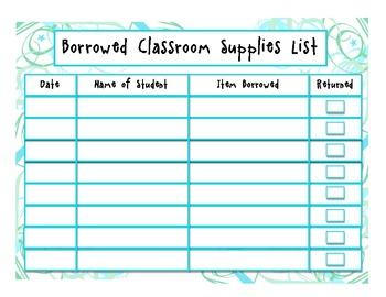 Borrowed Classroom Supply List (Student version)
