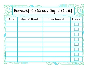 Borrowed Classroom Supply List (Student version)