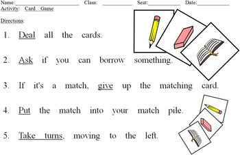Borrowing PRINTABLE CARD GAME (English Communication Activity)