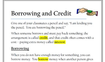 Borrowing and Credit Article-Financial Literacy/Texas